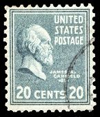 USA-CIRCA 1938: A postage stamp shows image portrait of James Abram Garfield the 20th President of the United States of America, circa 1938.