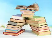 pic of short-story  - Stacks of books on table on natural background - JPG