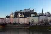 Fortress Hohensalzburg and Salzach River, Salzburg, Austria