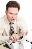 Tax accounant upset by bad financial numbers.  White background.