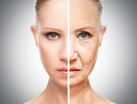 pic of wrinkled face  - concept of aging and skin care - JPG