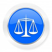 justice blue glossy web icon