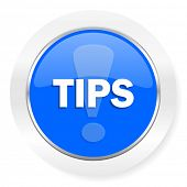tips blue glossy web icon