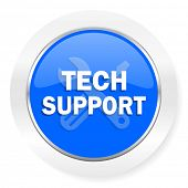 technical support blue glossy web icon