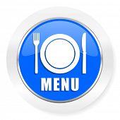 menu blue glossy web icon