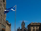Flag of Scotland on Royal Mile, Edinburgh.