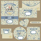 Wedding design template set with floral pattern