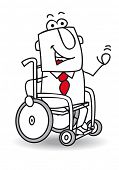 Handicapped businessman. A handicapped businessman in a Wheelchair.