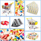 Collection Of Medical Concepts With Pills.  Colored Pills, Tablets And Capsules On A White Backgroun