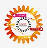 Summer sun line style infographic concept. Flat paper design with tags or your options on transparent stickers