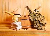 picture of sauna  - various sauna accessories in a wooden sauna - JPG