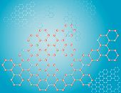 The blue background of the molecules.