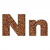 stock photo of letter n  - coffee letter on white - JPG