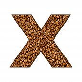 image of letter x  - coffee letter on white - JPG