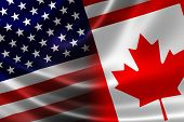 Merged Flag Of Canada And Usa