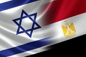 Merged Flag Of Israel And Egypt