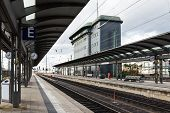 The Empty Platform With Control Tower Of Frankfurt Main Station
