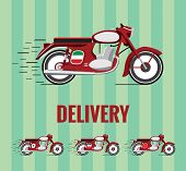 Old timer motorcycle for food delivery.