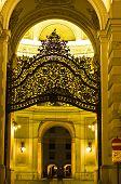 Gate and entrance to Hofburg palace at night, Vienna