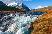 River, Mountains, Grass, Sky