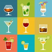 stock photo of pina-colada  - Alcohol drinks and cocktails icon set in flat design style - JPG