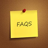 Frequently Asked Questions Words On sticky note