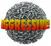 Aggressive word in 3d letters on a ball or sphere of exclamation points or marks telling people you