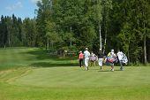TSELEEVO, MOSCOW REGION, RUSSIA - JULY 26, 2014: Golfers on the golf course in the Tseleevo Golf & P