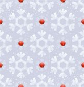 Seamless background - paper snowflakes and ripe rowanberry
