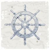Hand drawn illustration - ship steering wheel