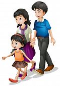 Illustration of a family walking on a white background