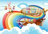 Illustration of a happy Easter template with eggs and a bunny near the rainbow