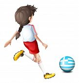 Illustration of a female football player from Greece on a white background
