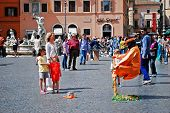Tourists In Rome City Navona Place On May 29, 2014