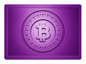 stock photo of bronze silver gold platinum  - Purple metallic plate with bitcoin logo stamp on it and clippingpath for white background removal - JPG