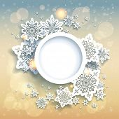 Spectacular christmas background with snowflakes and gold lights. Place for text. Raster version.