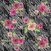 Dark stylish animal pattern with roses. Seamless background. Raster version.