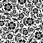 Seamless vintage black floral pattern. Vector illustration.