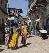Harar, Ethiopia - December 24, 2013: Unidentified People Of Ancient Walled City Of Jugol.