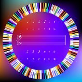Circle Of Colored Piano Keys And Music Symbols
