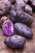 image of solanum tuberosum  - Vitelotte blue-violet potato (Solanum ajanhuiri Vitelotte Noir), close up