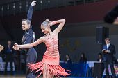 Professional Belarussian dance couple of Kolesnev Sergey and Buldyk Arina performs Adult Latin-Ameri