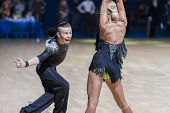 Professional Belarussian dance couple of Kosyakov Egor and Belmach Anastasiya performs Adult Latin-A