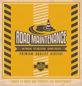 picture of paved road  - Road construction vintage poster design concept - JPG