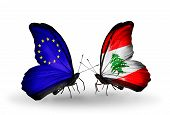 Two Butterflies With Flags On Wings As Symbol Of Relations Eu And Lebanon