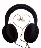 Two pairs of headphones. Black and red headphones