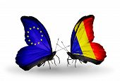 Two Butterflies With Flags On Wings As Symbol Of Relations Eu And Chad, Romania