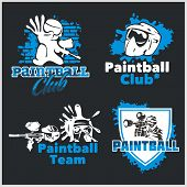Paintball emblem and logo - vector set