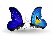 Two Butterflies With Flags On Wings As Symbol Of Relations Eu And Saint Lucia