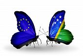 Two Butterflies With Flags On Wings As Symbol Of Relations Eu And Solomon Islands